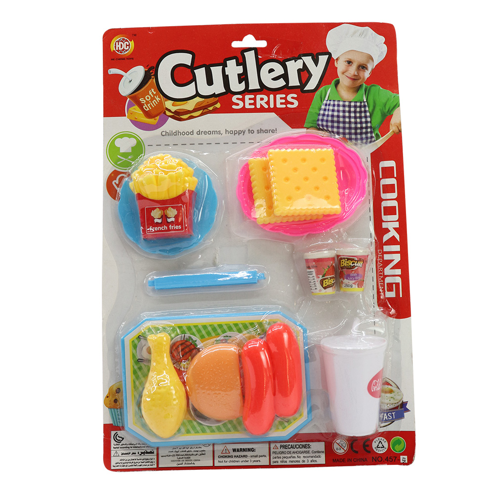 Kitchen Set with Fast Food Meal