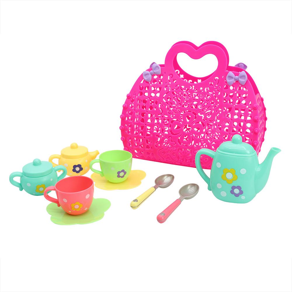 Tea Set in Pink Basket