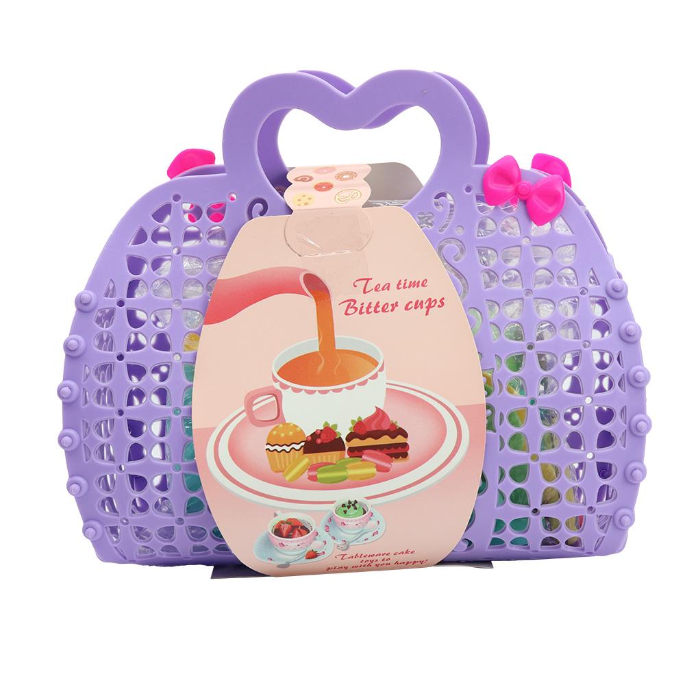 Tea Set in Purple Basket