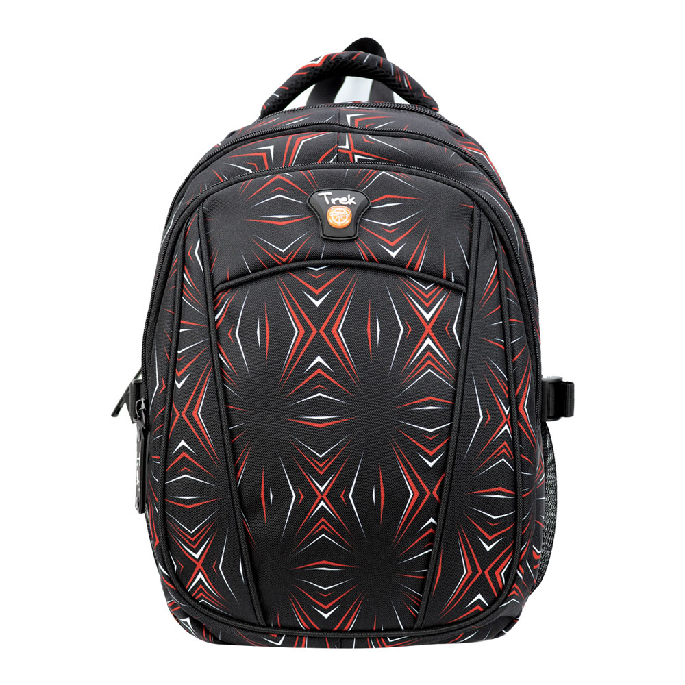 """Trek Abstract Red and Black 17"""" Backpack"""