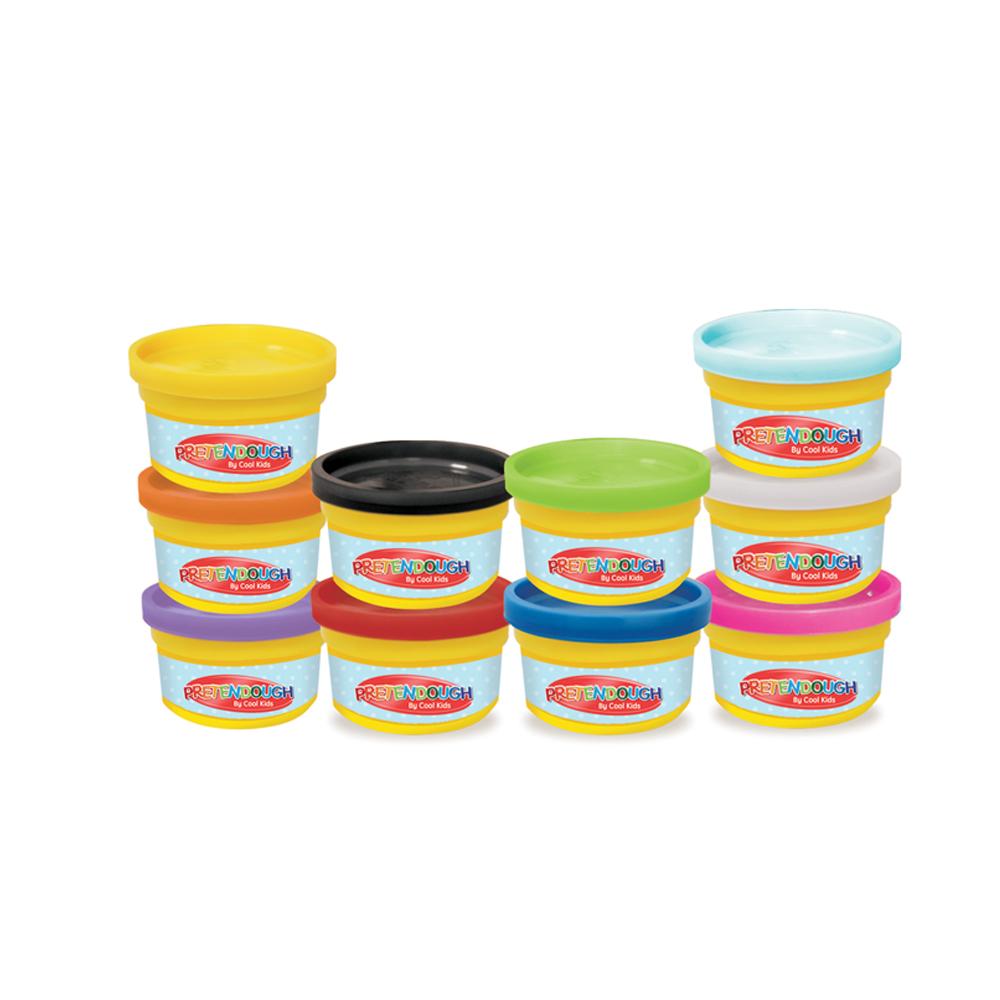 Pretendough 10 Tubs Multicolored Dough